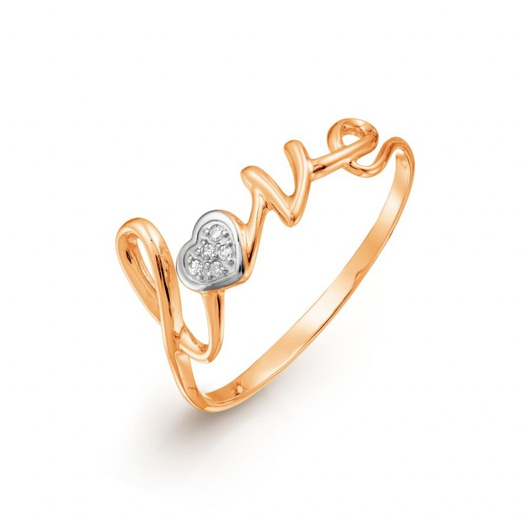 Ring für Damen Gold 585 LOVE mit Diamanten