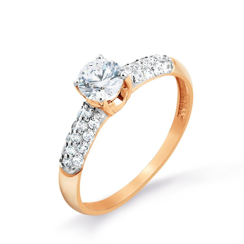 Damen Ring aus 585er Rotgold mit Swarovski Elements